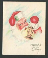 Vintage Christmas Card Blue Eyes Santa Claus w/Old Lantern Greetings
