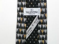 Negro Foulard Valentino Corbata de Seda 9.9cm Ancho 147cm Largo