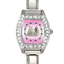 Maltese Dog Cubic Zirconia Ladies Stainless Steel Italian Charm Watch BJ1087