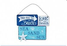 This Way to the Beach - Metal hanging plaque Sign - Blue Nautical