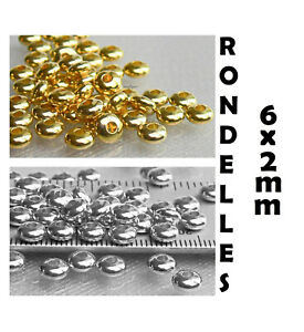 Rondelle Beads 6x2mm 20 Ur Pick Silver Gold Metal Spacers