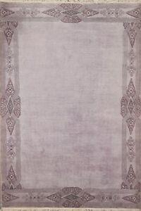 Bordered Nepal Tibetan Oriental Area Rug Hand-knotted Wool Decorative Carpet 6x8