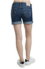 Novo com etiquetas Feminina Shorts Jeans Bermuda Jeans True Religion Big T Roll Curto