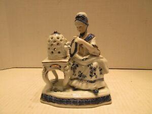 KPM Berlin Porcelain Figurine #4948 Cobalt Seated Woman with Bird China Figure