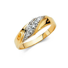 14k Yellow Gold 6 mm Diamond Men's Round Cut Wedding Band Ring