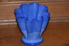 Fenton Blue Slag Glass Periwinkle Melon Shell or Flower Vase