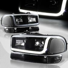 For 1999-2006 Gmc Sierra 1500 2500 Drl Led Black Clear Headlights+Bumper 4Pcs (Fits: Gmc)
