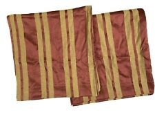 """JC Penney Home Discontinued Red Tan Stripe Curtains Drapes Panels 85"""" Luxury"""