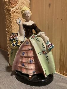 Vintage Porcelain Woman figurine w/Flowers 11 3/4 tall, Italy. Free Shipping!