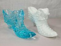 Vintage Fenton Hobnail Cat Head Slipper Shoe Blue Art Glass White Milk Lot 5 3/4