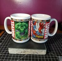 Marvel Comics (2) Spiderman and Incredible Hulk Ceramic Mug Cup 2003 Clean!!