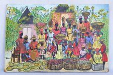 Vintage Philippe Vieux Haitian Black Folk Painting Village Festival Market Scene