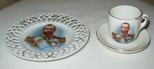 King George V Miniature Ribbon Plate and Cup and Saucer Signed