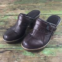 Womens Born Clogs Brown leather 8 Slip On Mules
