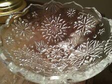 """Mikasa Holiday Classics Snowflake 6"""" Footed Crystal Bowl Candy Nuts dish"""