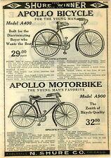 1924 PAPER AD 2 Sided Apollo Bicycle Bike Motorbike