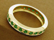 R261 Solid 9K Gold Natural Emerald Full Eternity Ring Anniversary Wedding size M
