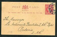 Natal  - Entier postal commerciale pour Pretoria en 1892  réf O 144