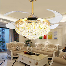 """42"""" Gold Invisible Ceiling Fans w/ Led Light Remote Control Crystal Chandelier"""