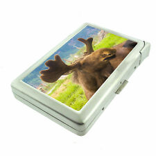 Alaska Images D6 Cigarette Case with Built in Lighter Metal Wallet Moose