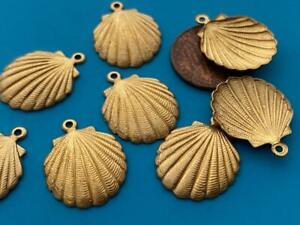 Vintage 16 x 20mm Brass Scallop Shell Charms 8