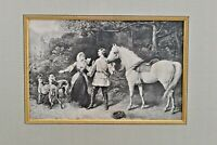 1920 Vintage Heywood Hardy Art Print Framed and Matted Hunting Scene Fox Hunt