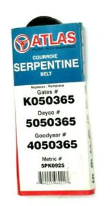 "Atlas Serpentine Belt 0.70"" x 36"" / 17 x 925mm  5PK925 K050365 5050365 4050365"