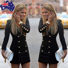 Fashion Women Slim Long Sleeve Buttons Casual Bodycon Cocktail Mini Dress Coat