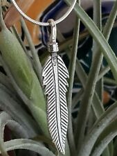 Sterling Silver Feather Pendant with Sterling Silver Snake Chain