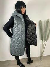 Gilet Bodywarmer Quilted Lightweight Sleeveless Hood Grey Fits 14-20 Zip Long