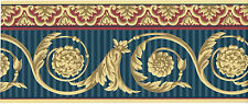 Victorian Red Blue Stripe Golden Medallion Acanthus Leaf Scroll Wallpaper Border