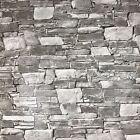 Wallpaper rolls textured grey modern faux realistic brick stone 3D wallcoverings