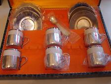 6 Mokkatassen, Porzellan mit Metallmontur, Silver Plated, England
