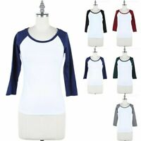 Color Block 3/4 Sleeve Scoop Neck Baseball Tee Shirt Top Casual Cotton S M L