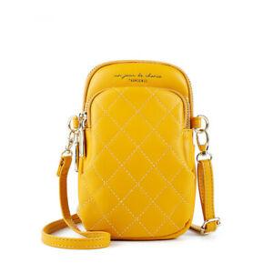 Lingge Leather Women Crossbody Bag Phone Cards Shoulder Bags +1 free mini wallet