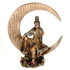 "KWAN YIN on CRESCENT MOON STATUE 8.25"" Bronze Figurine HIGH QUALITY Kuan Guan"