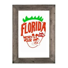Mickey Mouse Florida Strawberry Country Art Barn Wood Framed Picture Print