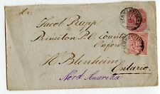 WURTTEMBERG ENVELOPE 10PF+10PF STAMP TO CANADA 1878, SOME SOILING      (Y446)