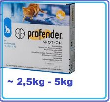 Profender for Cats allwormer 2 Pipettes spot-on worming. Bayer~ 2,5-5kg.BAYER