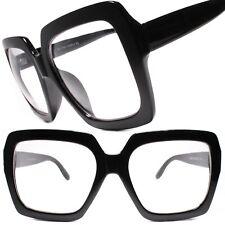 Huge Oversize 80s Vintage Style Clear Lens Eye Glasses Thick Black Fashion Frame