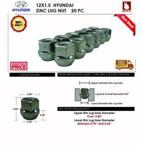 20PC HYUNDAI 12X1.5 CHROME OPEN END WHEEL LUG NUT BULGE ACORN SEAT