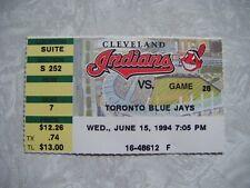 1994 Cleveland Indians vs Toronto Blue Jays Full Ticket June 15  Thome HR