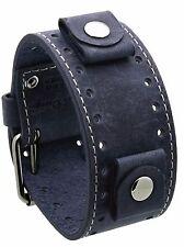 Rev CHO-CB Crazy Horse Leather 22mm Lug Width Wide Slate Blue Cuff Watch Band