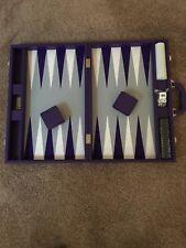 "19"" Premium Backgammon Set - Purple - Gray Board, Purple & White Points - NIB"