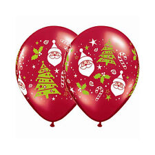 Party  Supplies Decoration Christmas Santa & Tree Ruby Red Balloons Pack of 10