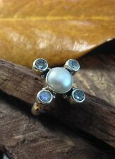 Sterling Silver 925 Handcrafted Pearl Topaz Moonstone Fashion Ring Size 6