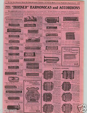 1906 PAPER AD Hohner Marmonica Accordions Cartridge Harp Marine Band Bell Attach