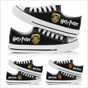 Harry Potter Hogwarts Plimsolls Lace Up Flats Gym Shoes Sneakers Canvas Trainers
