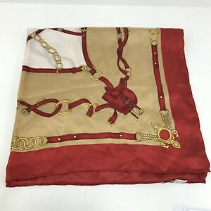 Hucke Women's 100% Silk Square Scarf Red Gold Equestrian Print Vintage 161306