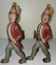 Antique Pair of Painted Cast Iron Figural Hessian Soldiers Andirons 1890's